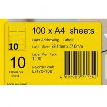艾利(AVERY)L7173 10枚/张 快揭激光打印标签 邮寄标签 白色 A4 100张装