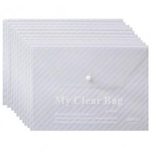 远生(USIGN)US-W209 斜条纹透明按扣文件袋 A4 透明白 12个/包
