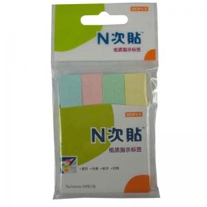 N次贴(STICKN)34008 粉彩四色纸质指示标签/便利贴 76*14mm*4条 50张/本